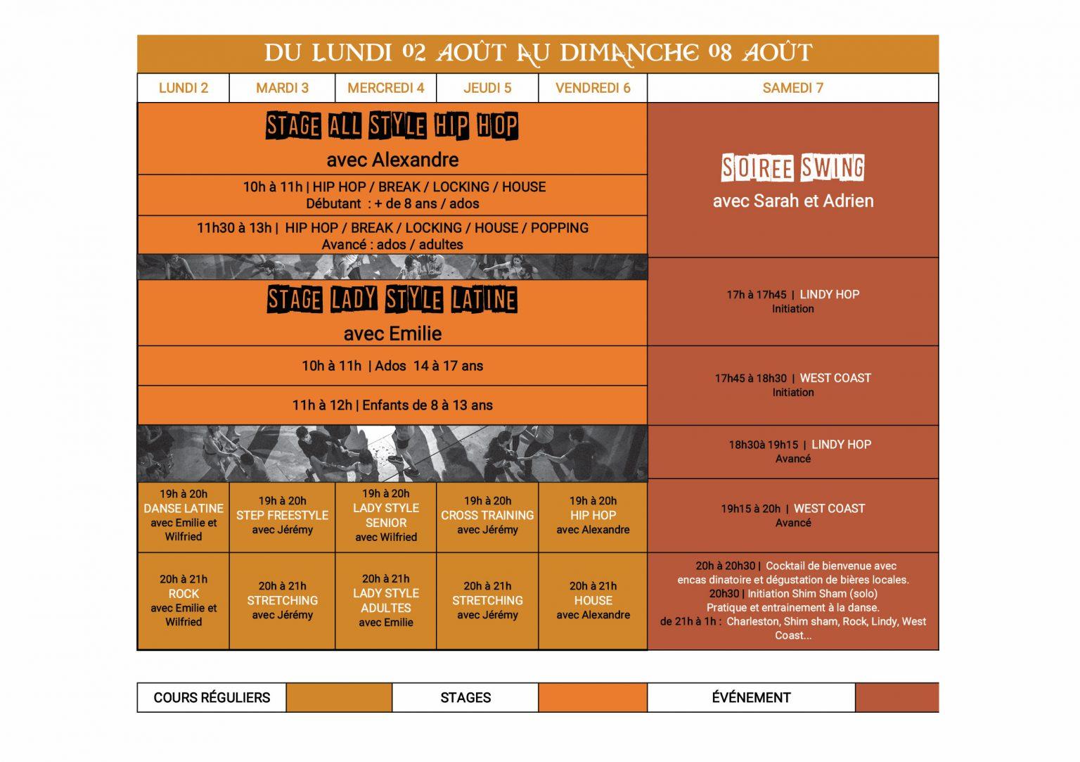 Planning été danse stage 2 au 8 aout 2021 Dance School Vallee