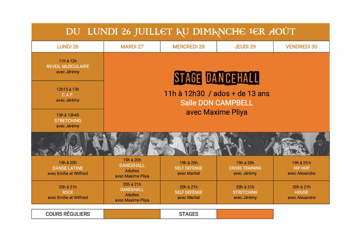 Planning Danse stage été 26 août au 1er septembre 2021 Dance School Valllée